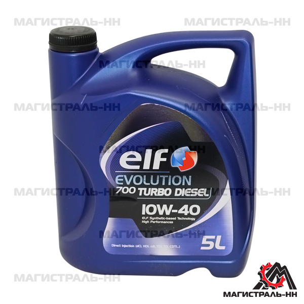 Масло ELF моторное 10W40 EVOLUTION 700 TURBO DIESEL A3/B4 SL/CF 5л (полусинтетика)